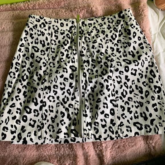 White and black cheetah skirt